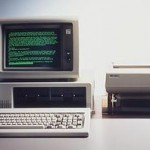 Vintage IBM PC with green screen monitor