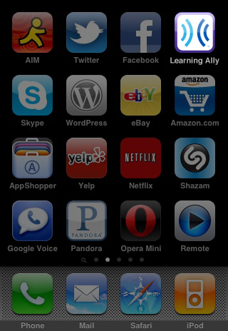 iPhone screen full of apps, with highlighted Learning Ally Audio icon