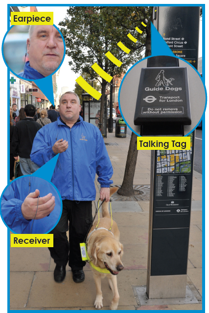 Man with guide dog, using RFID technology