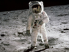 Astronaut in spacesuit on the moon